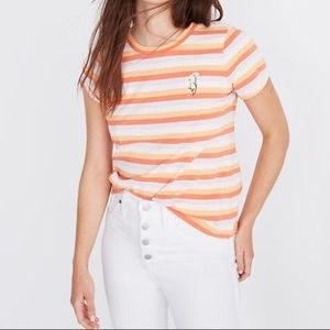 NWT Madewell Striped Daisy Embroidered Tee